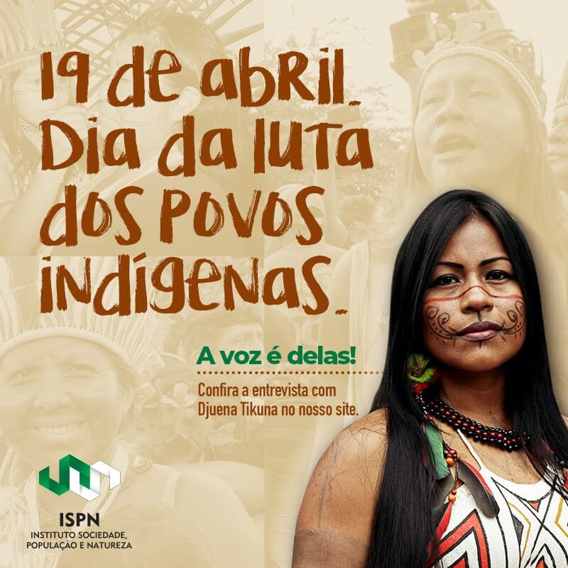 Cartaz do dia da luta dos povos indígenas com mulher
