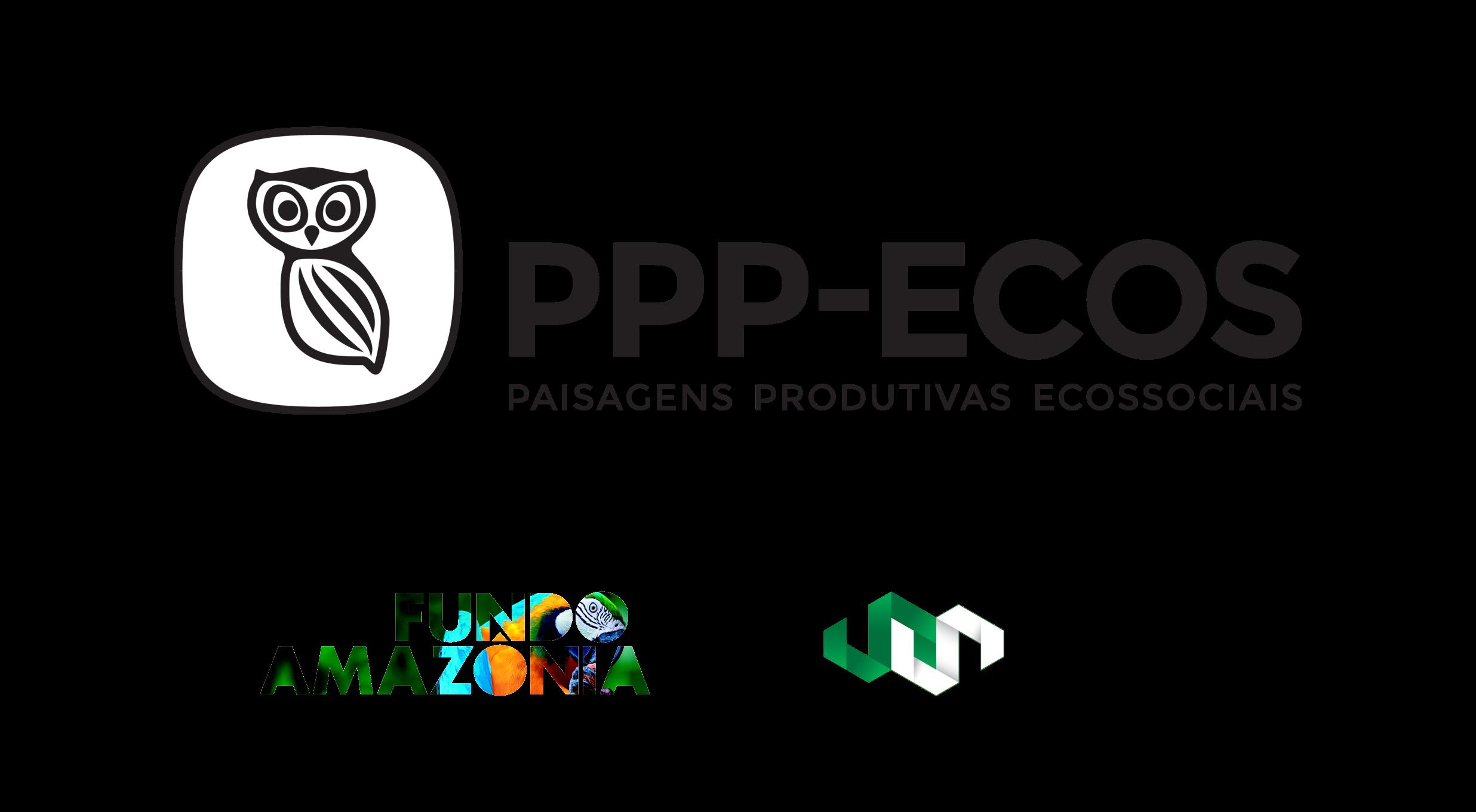 bateria de logos do ppp ecos com fundo amazônia e ISPN